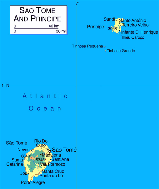 Detailed map of Sao Tome and Principe. Sao Tome and Principe detailed map.
